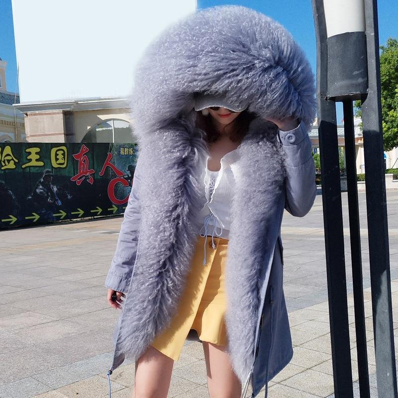 2018 new Fashion Women's mongolia sheep fur Hooded Coat Luxurious lamb fur   parka   Medium long slim fur thick cotton Winter Jacket