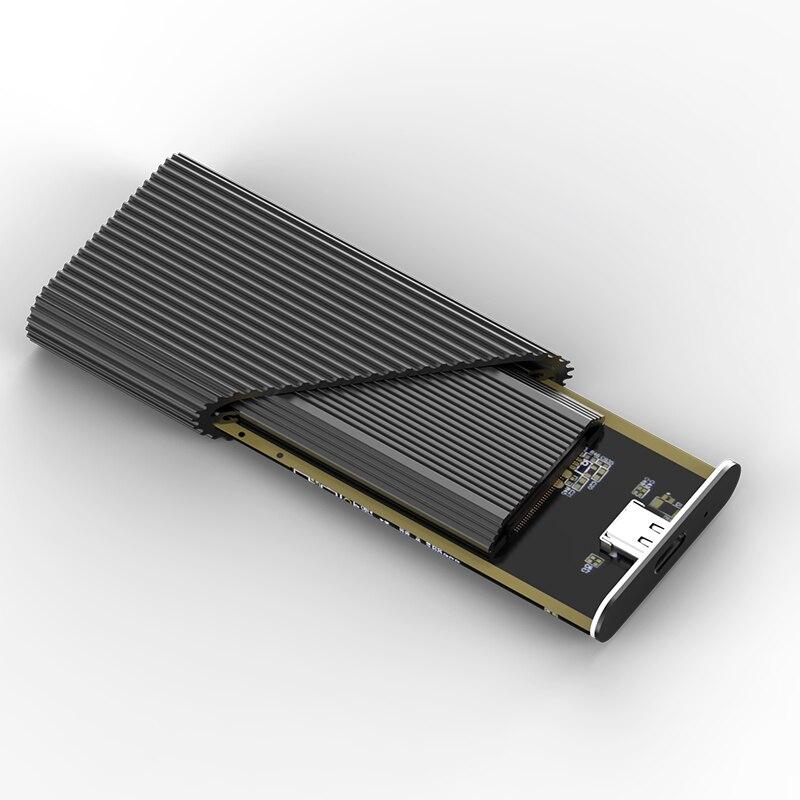 Nouveau usb3.1 type-c boîtier ssd convertisseur PCIE msata NVME boîtier de disque dur boîtier en aluminium ssd boîtier