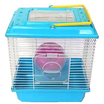 Portable Heighten Single Layer Pet Syrian Hamster Cage with Cover Running Wheel Bowl for Small Habitat Guinea Pigs Mice Habitat 3