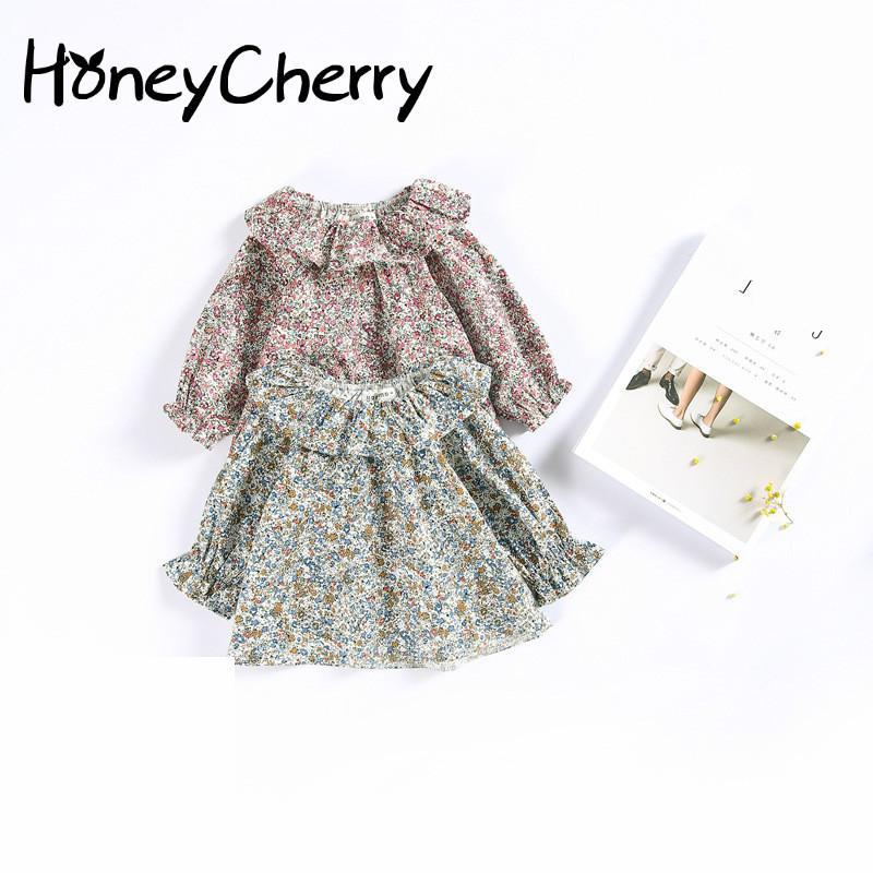 Children Shirt Retro Lace Collar Sweater Coat Small Floral Doll Baby Shirt Children Girl Top Blouse Kids Infant Blouse two tone lace insert blouse