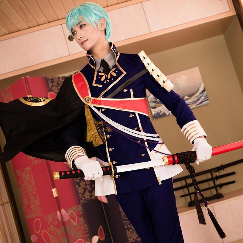 Touken Ranbu Online Ichigo Hitofuri Cosplay Polyester Costume With Armor Gloves & Tie Japanese Uniform Game Cosplay