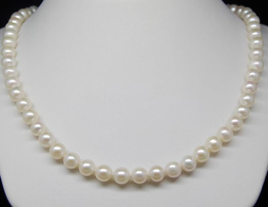 Genuine New Design Fine AAA+ 7.5-8 mm White Akoya Pearl Necklaces 16Genuine New Design Fine AAA+ 7.5-8 mm White Akoya Pearl Necklaces 16
