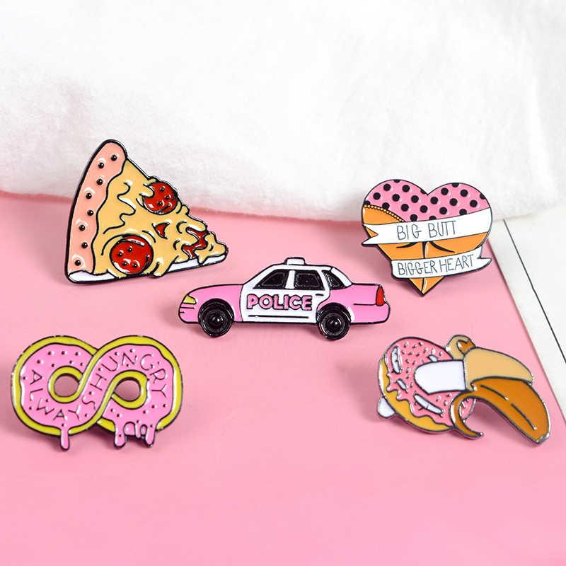 Qihe Perhiasan Makanan Pin Pizza Infinity Donat Mobil Jantung Pisang Butt Enamel Merah Muda Manis Kawaii Kerah Pin Lencana Wanita gadis