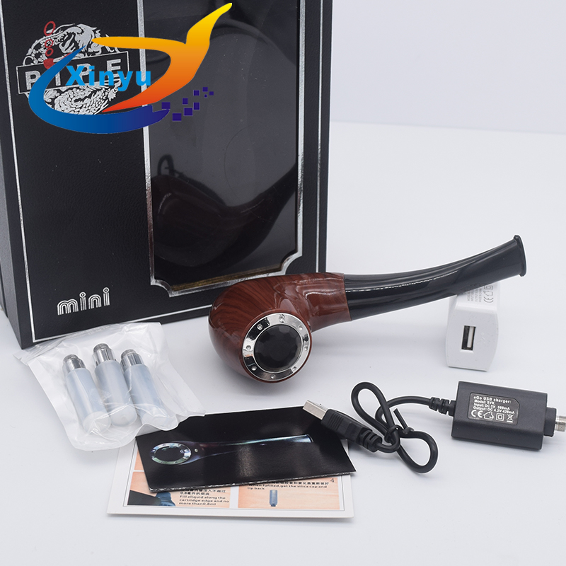 <font><b>e</b></font> Pipe <font><b>Mod</b></font> Wooden <font><b>e</b></font> Pipe Electronic <font><b>Cigarette</b></font> vape 628 Kit with 2pcs 18350 battery Three Cartridge smoke <font><b>E</b></font>-Pipe 628 Mini vape image
