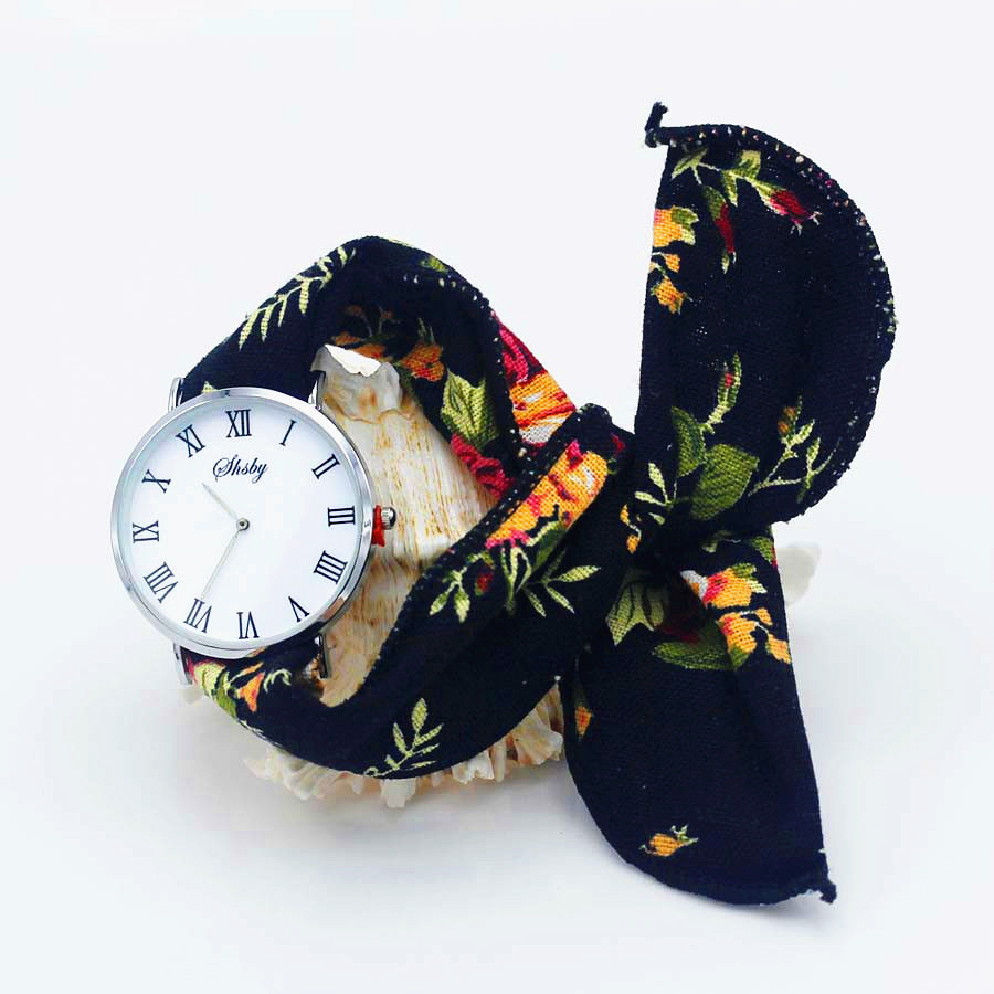 Shsby Ladies flower cloth wristwatch Women Dress Watch Fashion girl Casual Quartz Watch Rome Big dial fabric clock birthday gift in Women 39 s Watches from Watches