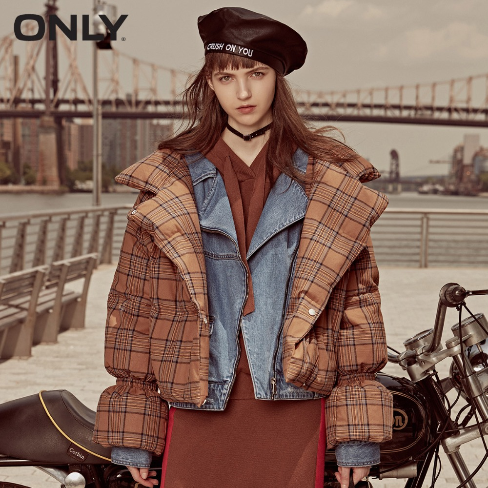 ONLY  Women's Stand-up Collar Check Pattern Short White Down Jacket |118323512