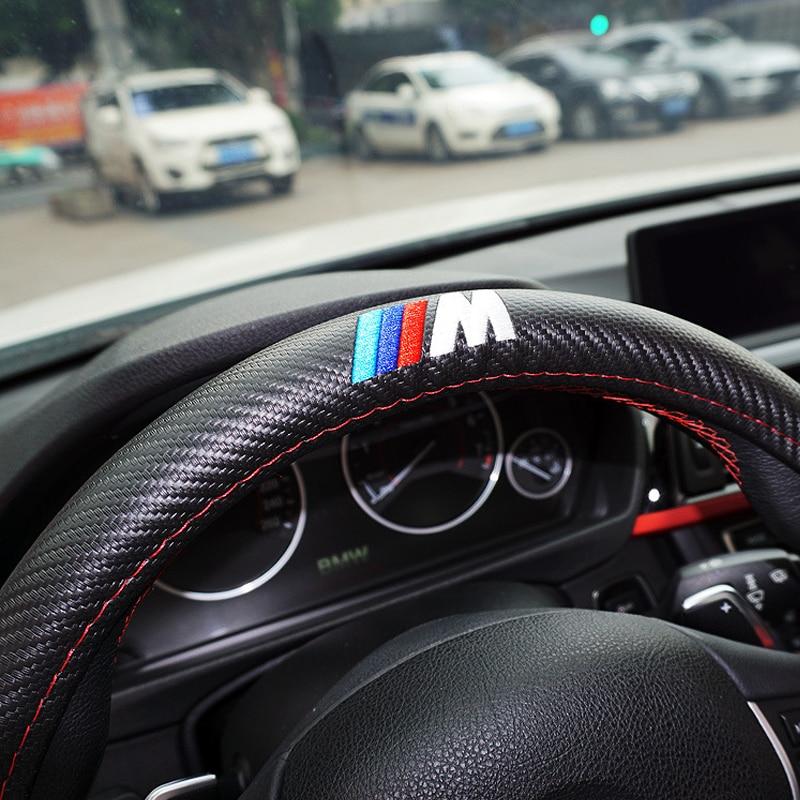 M power ///M Carbon fiber Sport Car Steering Wheel Cover Size M 38cm for BMW X1 X3 X5 X6 E36 E39 E46 E30 E60 E90 E92