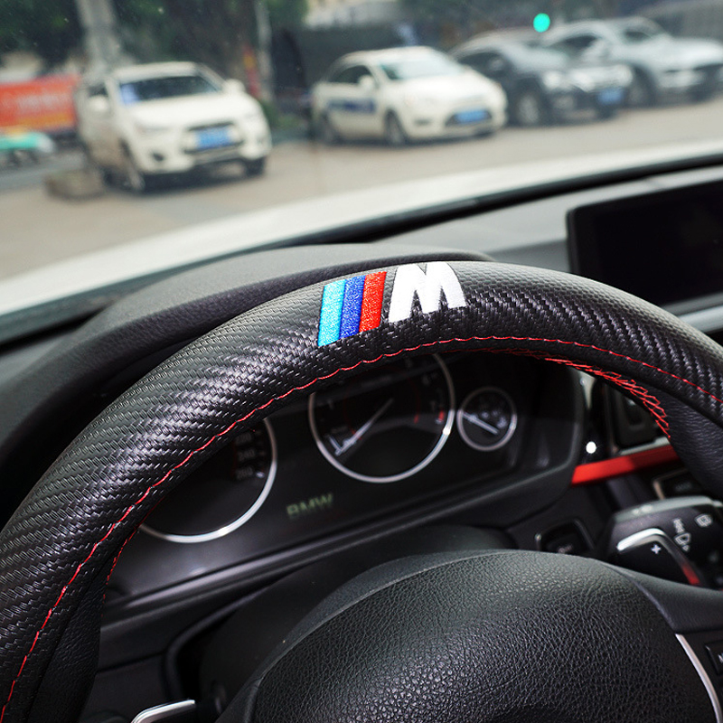 M power ///M Carbon fiber Sport Car Steering Wheel Cover Size M 38cm for BMW X1 X3 X5 X6 E36 E39 E46 E30 E60 E90 E92