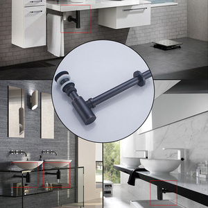 Image 4 - ROVATE Basin Bottle Trap Brass Bathroom Sink Siphon Drains with Pop Up Drain Black P TRAP Pipe Waste