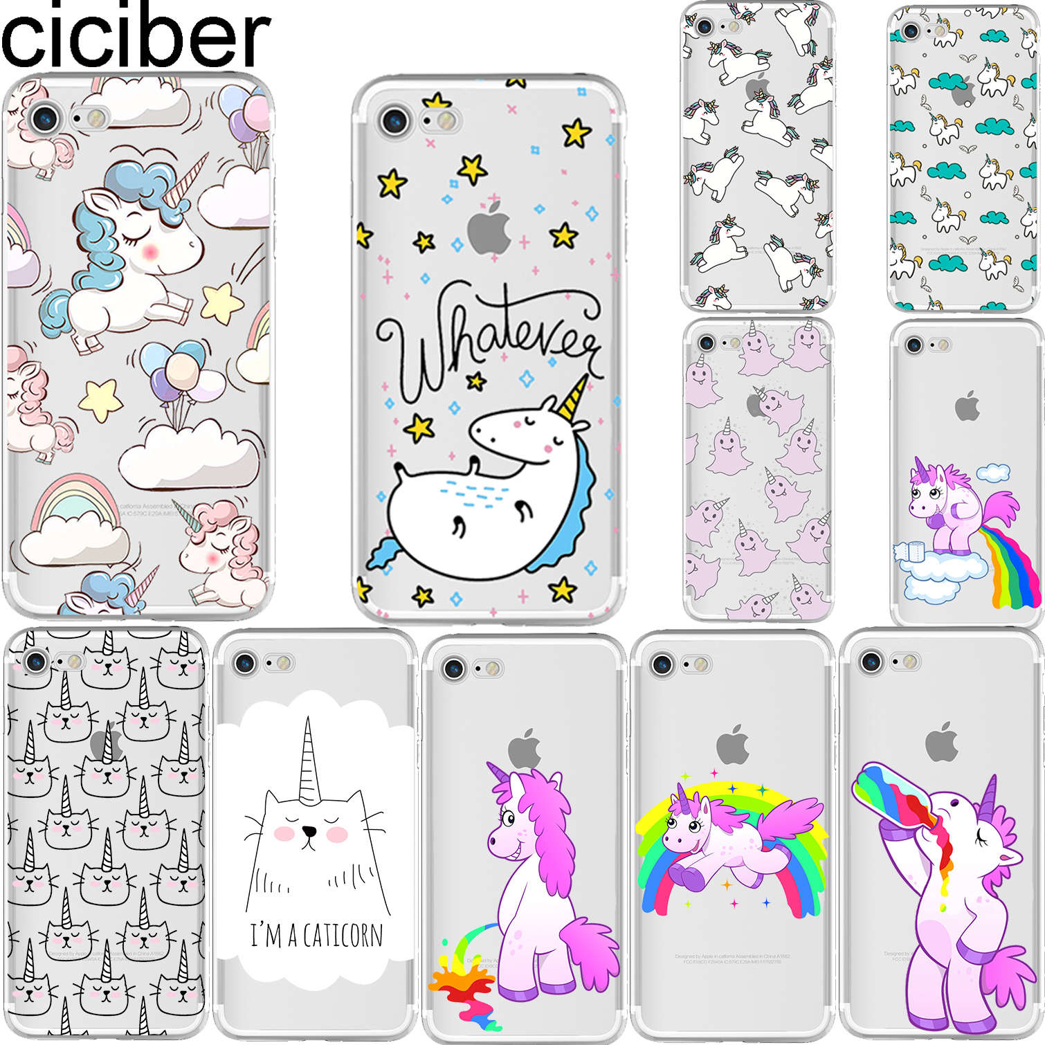 ciciber cute unicorn hippo rainbow horse pattern soft silicon case cover for iphone 6 6s 7 8. Black Bedroom Furniture Sets. Home Design Ideas