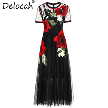 Delocah 2019 Women Summer Dress Runway Fashion Short Sleeve Flower Embroidery Mesh Overlay Collect Waist Vintage Midi Dresses цена 2017