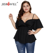 цены на SEBOWEL Summer Black Plus Size Cold Shoulder Short Sleeve Lace Blouses Woman Female Big Size Tops Lady Deep V Blouse Top XL-5XL  в интернет-магазинах