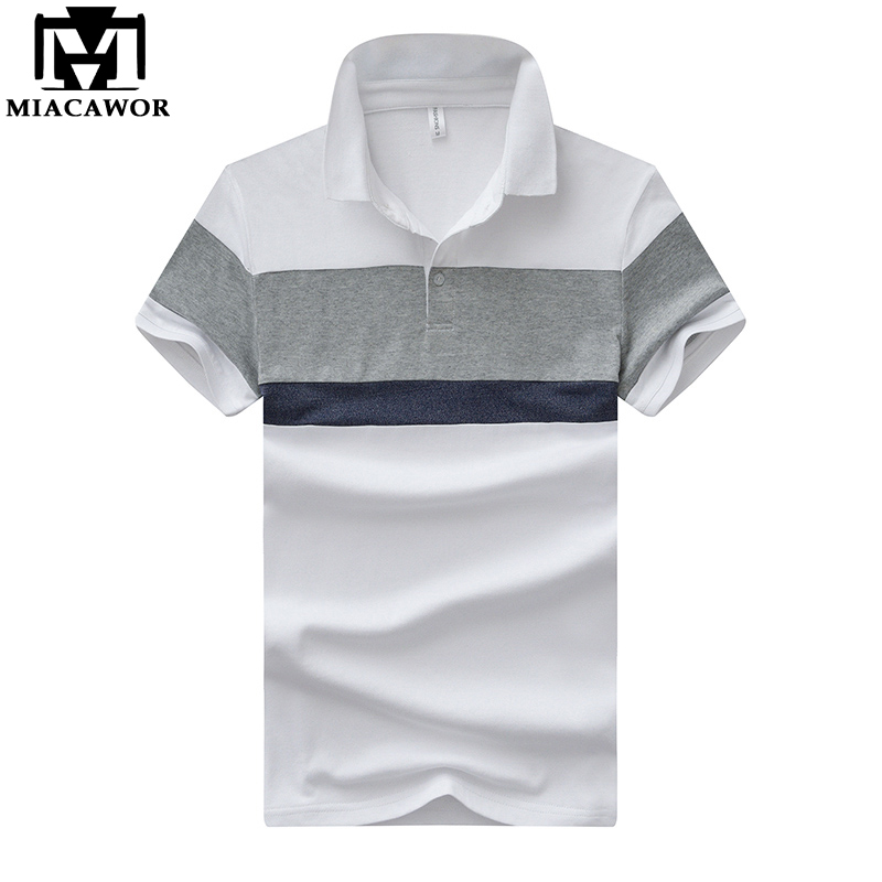 MIACAWOR New Summer Men   Polo   shirts Cotton breathable Homme Slim Fit Patchwork Short-sleeve Casual Camisas MT617