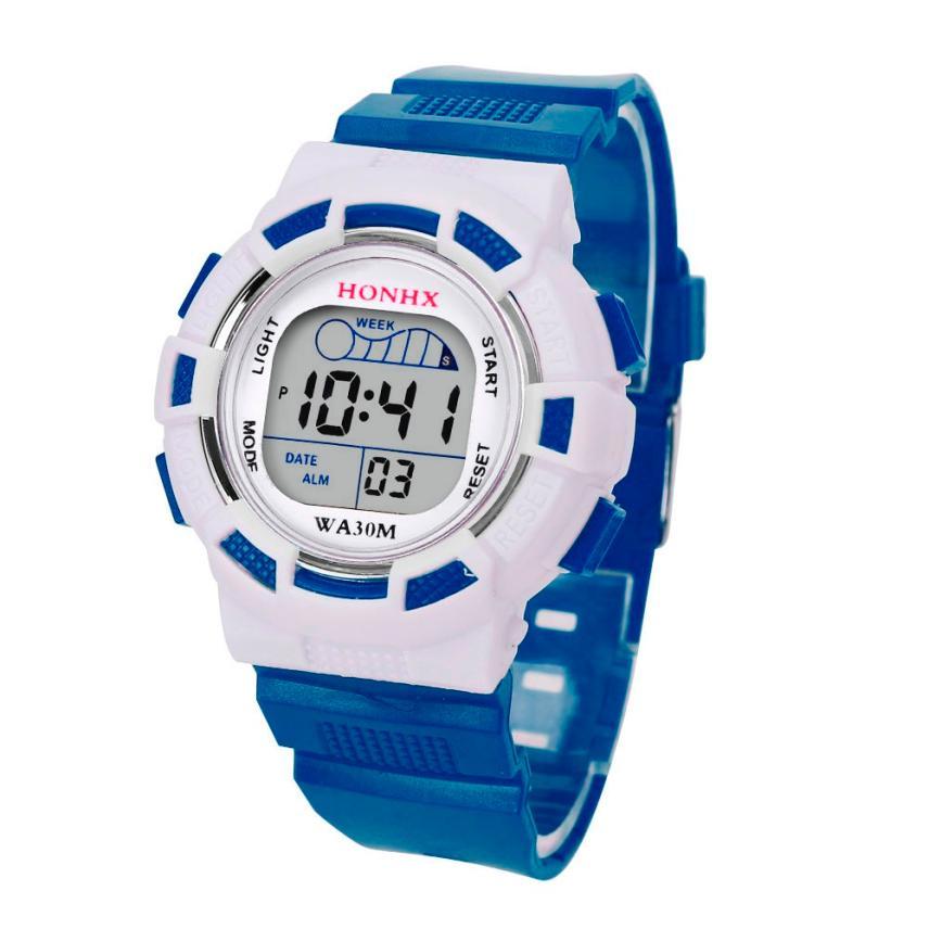 Hot 2017 New Fashion Superior New Waterproof High Quality Children Boys Digital LED Sports Watch Kids Alarm Date Watch Gift*