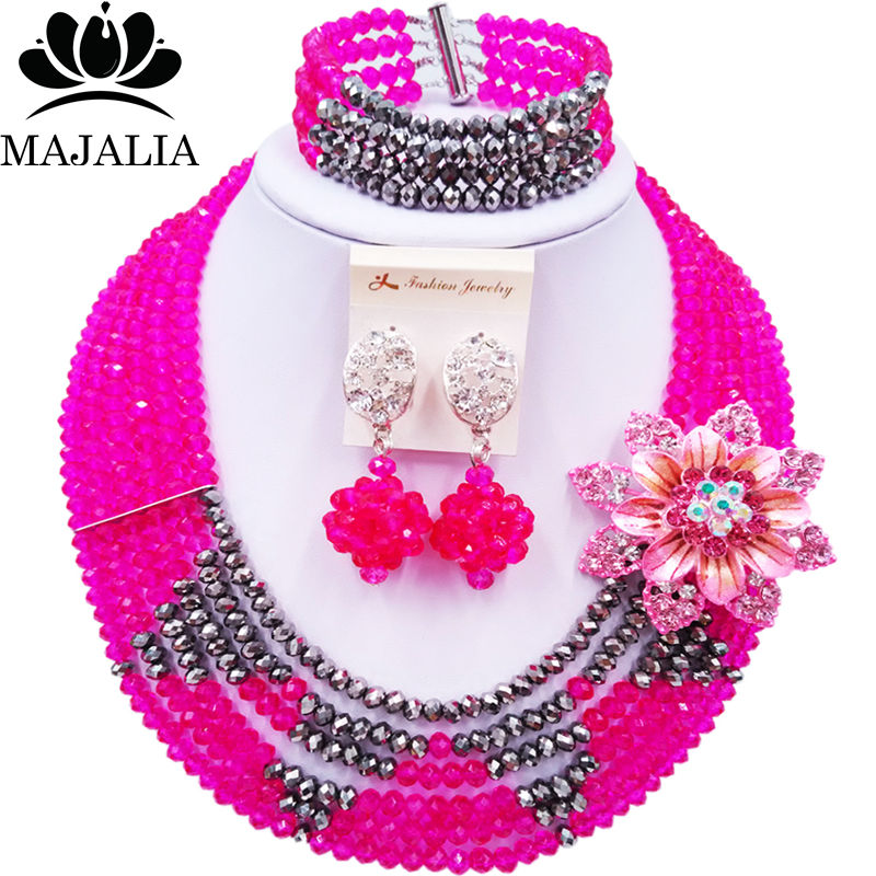 Majalia Official Store Majalia Fashion Classic Nigerian Wedding African Jewelery Hot pink Crystal Necklace Bride Jewelry Sets Free Shipping 6ST0011
