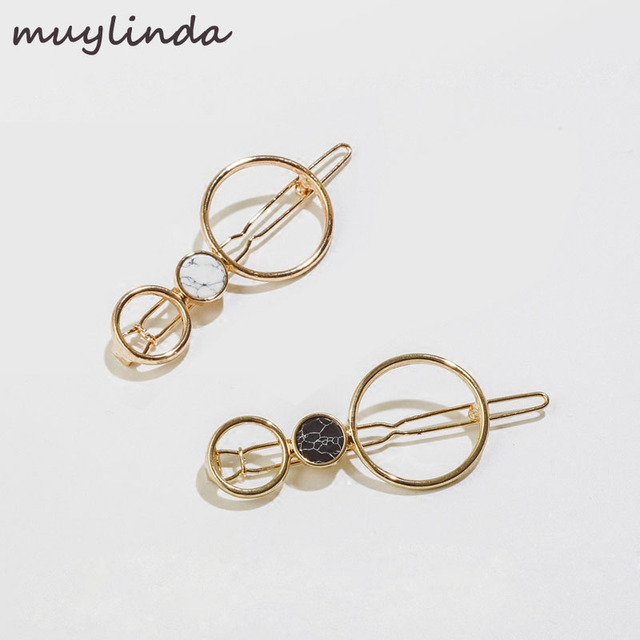 Simple Geometry Round Hair Clip Metal Hairpins Fashion Branded Design Women  Bobby Pins Accessories Jewelry 4887d9218fd1
