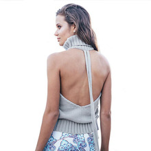 2016 New Arrivals Autumn Winter Women's Solid Knitting Turtleneck Backless Sleeveless Sweaters Jerseis Mujer Invierno O4