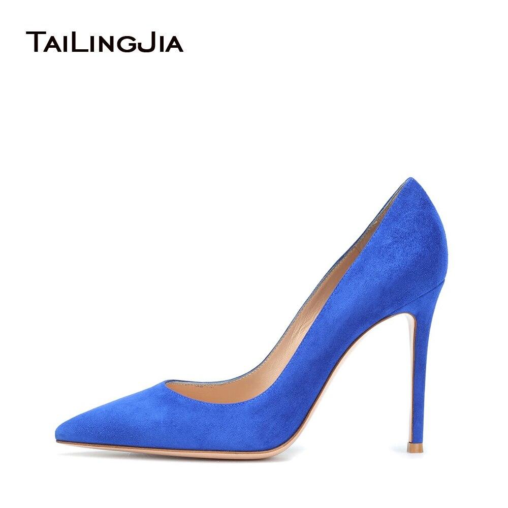 Women Blue Suede High Heels Elegant Party Pumps Brand Quality Ladies Stilettos Fashion Basic Popular Hotsale Dress Shoes