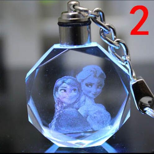 1 stk farverig LED krystal nøglering Anna Elsa Olaf KeyRing Gaver Action legetøj figur 18 stil