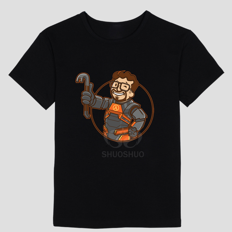 Half Life 3 Video games theme characters Simple design Hand-painted creative Short sleeve T-shirt Round collar