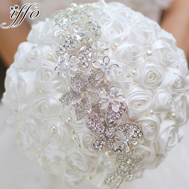 Weisse Rosen Brosche Bouquet Diy Braut Hochzeit Kristall Bouquet