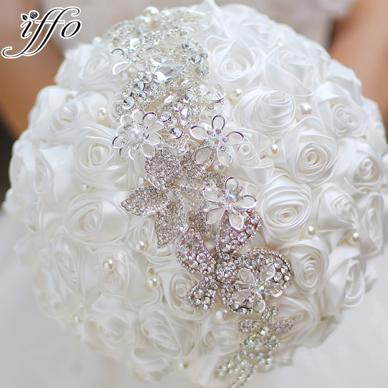 crystal wedding flower bouquets white roses brooch bouquet diy wedding 3216