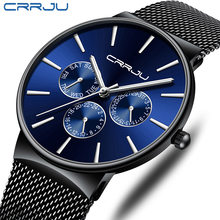 CRRJU Luxury Brand Men's Analog Quartz 24 Hour Date Watches Man 3ATM Waterproof Clock Men Business Simple Full Steel Wrist Watch(China)