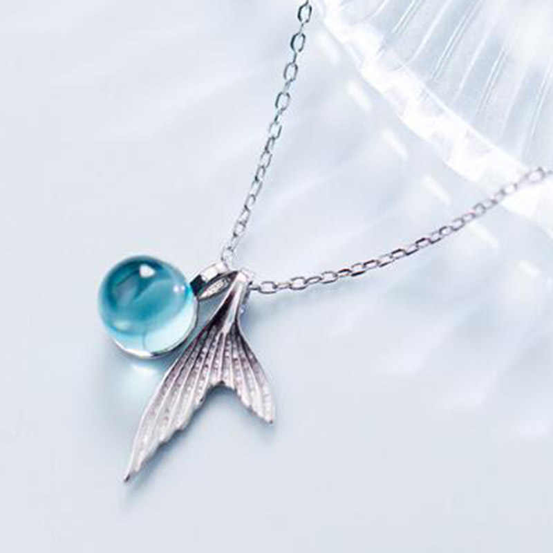 55bdc090c843b Hot Chic Ocean Wind Necklace Small Fresh Blue Gradient Mermaid Crystal  Necklace Exquisite Girl Birthday Gift