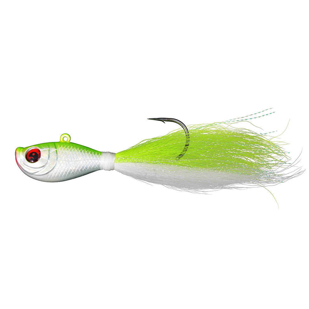 6pcs 1 5oz bucktail fishing lures salt water bucktail jig 3D eyes Luminous lead head artificial fishing baits in Fishing Lures from Sports Entertainment