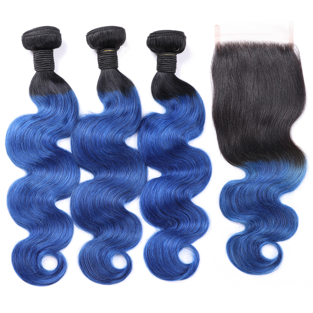MsToxic Ombre Body Wave Bundles with Closure 1B Blue Brazilian Hair Weave Bundles With Closure Non