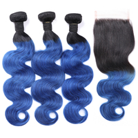 MsToxic Ombre Body Wave Bundles with Closure #1B/Blue Brazilian Hair Weave Bundles With Closure Non Remy Human Hair