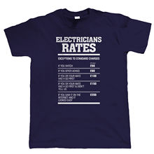 Electricians Rates Mens Funny T Shirt - Gift for Electrician Dad Him Grandad Tops Tee New Unisex High Quality