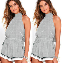 Summer Italy Europe and America hot explosion temperament sexy sleeveless beach sling Slim ladies jumpsuit