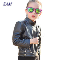 2017 Autumn And Winter New Children S Leather Korean Fashion Faux Leather Jacket Big Girls Double