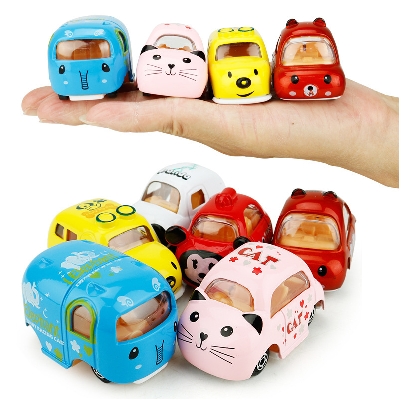 6 PCS Hot Sales Mini pull back car Tsum Tsum Diecast Metal Cars Toy Model Miniatura cartoon kids Gifts