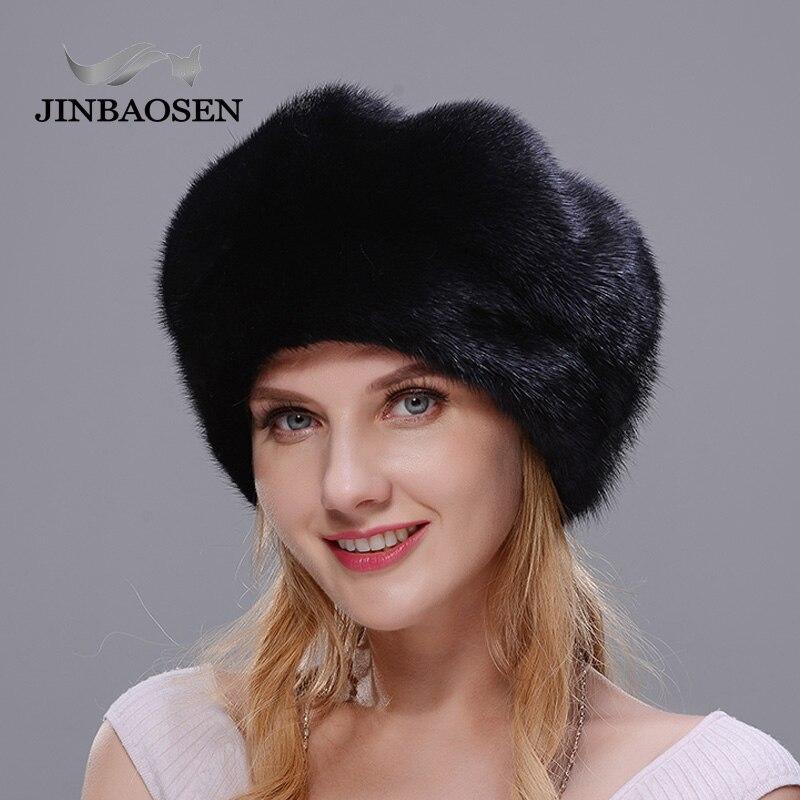 JINBAOSEN Russian winter full suede hat with luxury fashion black thick warm high quality hat Christmas fur hat women's fur hat