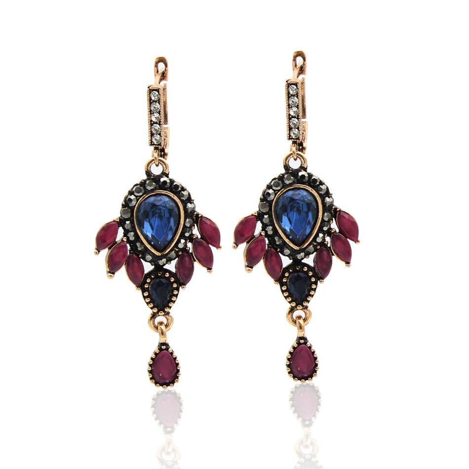 Turkey Bride Water Drop Resin Flower Earrings Hollow Fireworks Long Hook Earring Vintage Jewelry Antique Gold Color Arabia Dance