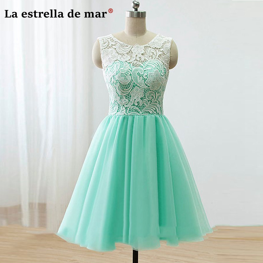 Sukienka na wesele dla kobiety2018 new lace A line mint green   bridesmaid     dress   short cheap vestidos de damas para bodas