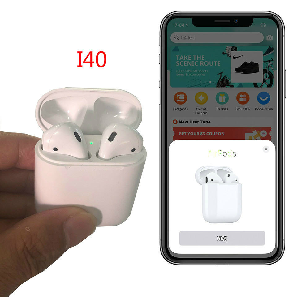 Discreet I40 1:1 Earphones For Air Ear Pods Pop-up Animation Bluetooth 5.0 Wireless Bluetooth Earbuds Pk W1 Chip I10 I20 I30 I14