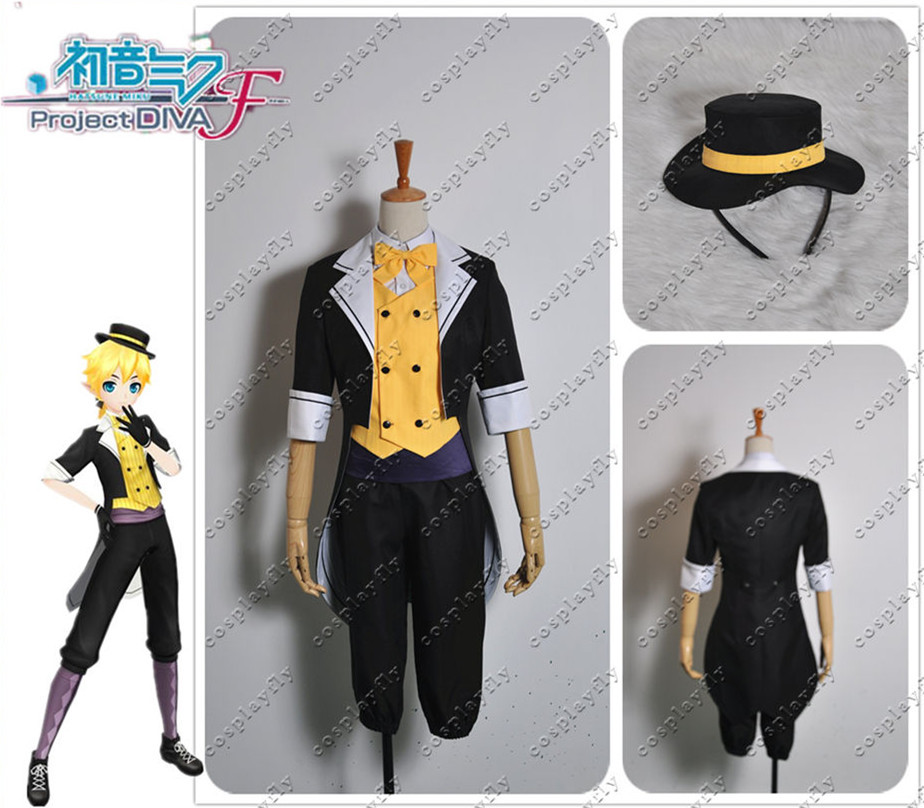 Vocaloid Hatsune Miku Project Diva F Len New Edition Cosplay Costume Custom Made Any Size with Hat Socks  (W0210)