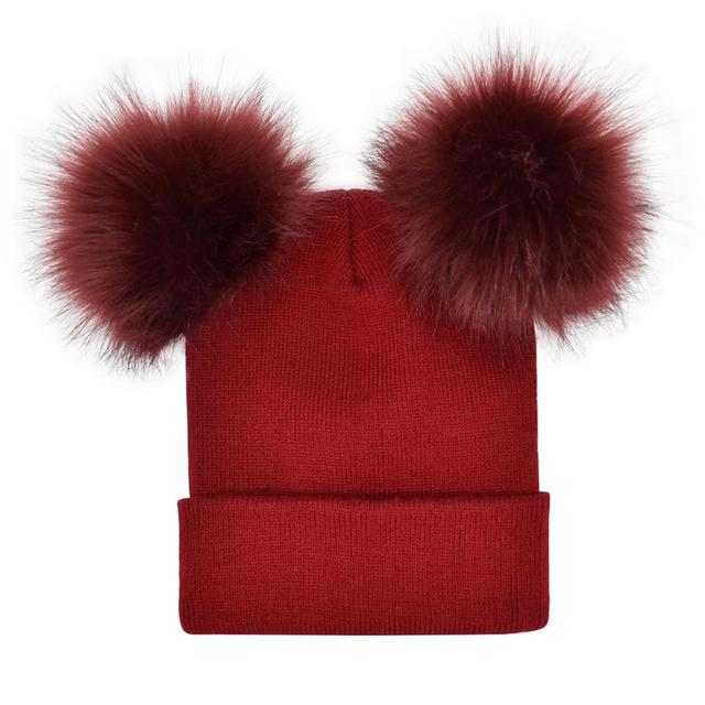 2018 Autumn New Women Faux Fur Pompom Hat Female Winter Warm Cap Knitted Beanie Girl Double Ball Pom Pom Hats Woman Bonnet Femme