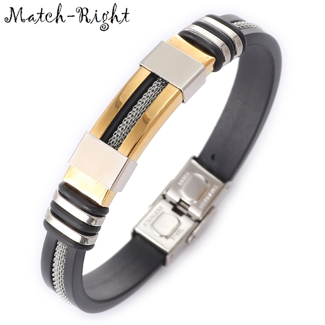 Match-Right Men's Leather Bracelets Metal Bracelet Cuff for Men Stainless Steel Bracelets Bangles Men's Wristband BR016