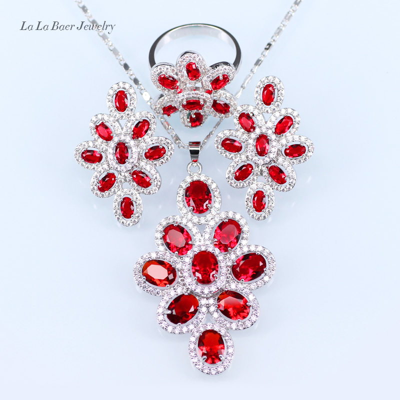L&B American women Fashion Red Rhinestone White zircon Jewelry Sets For Wedding Ring/Earrings/Pendant/Necklace chic rhinestone african plate shape pendant necklace and earrings for women