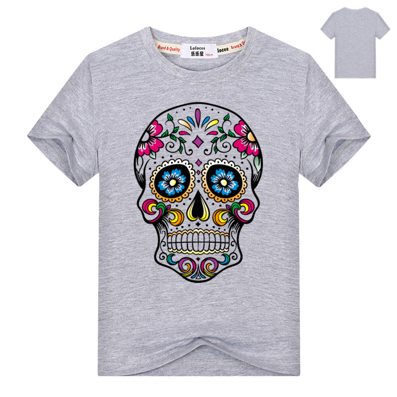 Mexican Flower Sweet Skull Cat Print Kids T Shirt Casual Summer Cotton Top Tee for Boys Girls Hipster Clothing ...