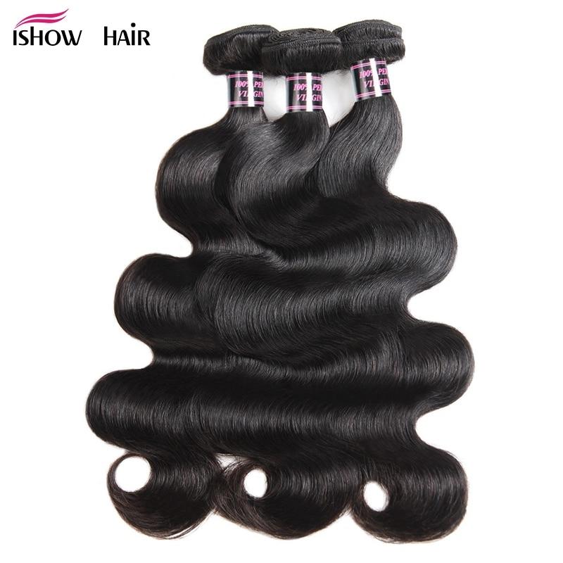 3 Paket Brasilianska Kroppsvåg Bundlar Deal Hur Humörhår - Mänskligt hår (svart)