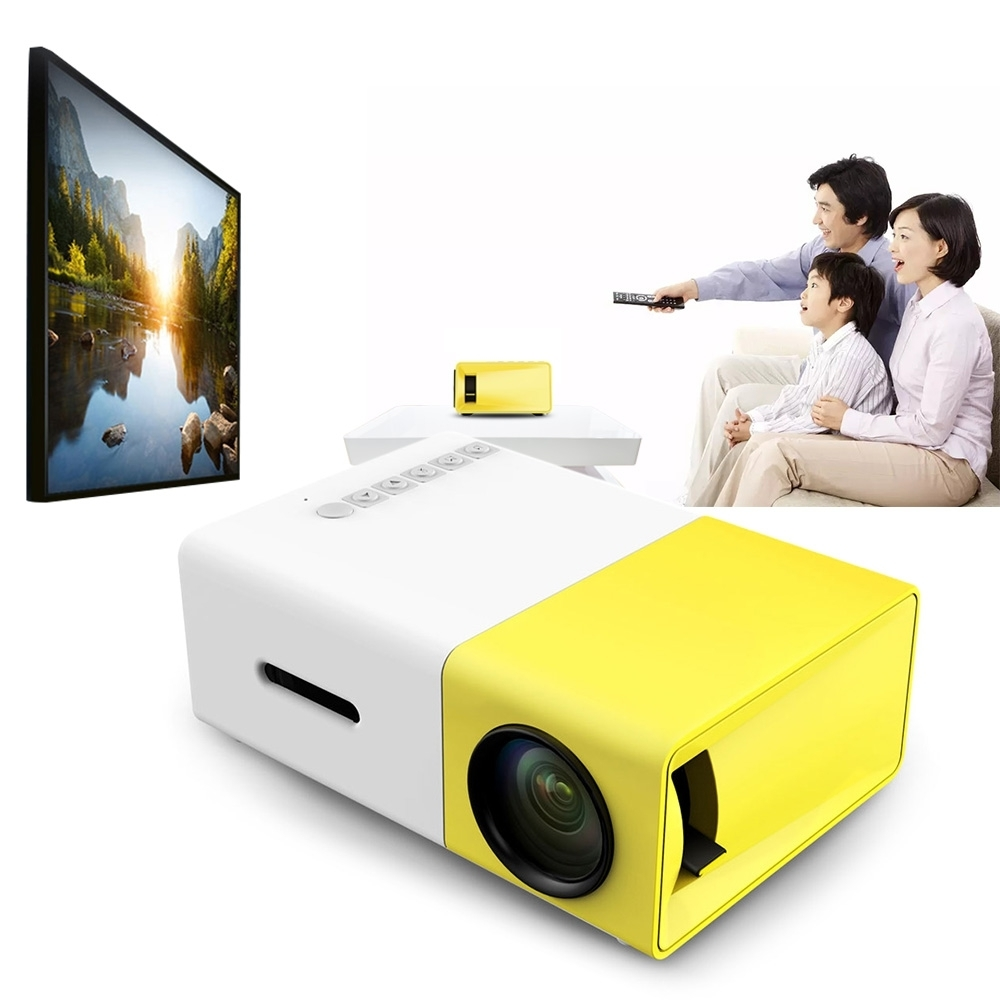 ViviBright YG300 Portable LCD Projector 500LM 3.5mm Audio 320x240 Pixel 1080P Mini Home Theater Projector with HDMI USB AV Input mini led lcd video projector 320 x 240 support 1080p av usb sd hdmi for home portable mobile projector for tv home theater