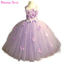 Light Pink Hydrangea Flower tutu dress Flowers Girls Wedding Birthday Party Dresses Can Be Customized Any Colors Lavender Ivory