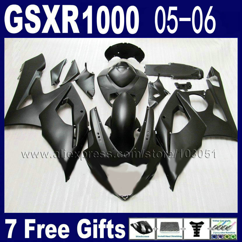Injection molded fairings set for suzuki GSXR1000 2005 gsxr 1000 K5 2006 GSXR 1000 05 06 flat matte black motorcycle fair