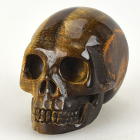 3'' Healing Realistic Quartz Crystal Skull Sculpture Natural Tiger Eye Hand Carved Crystal Skull Statue Home Decor Artworks