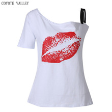 COYOTE VALLEY Foreign trade red lips 2017 hot style high quality single dew shoulder T shirt